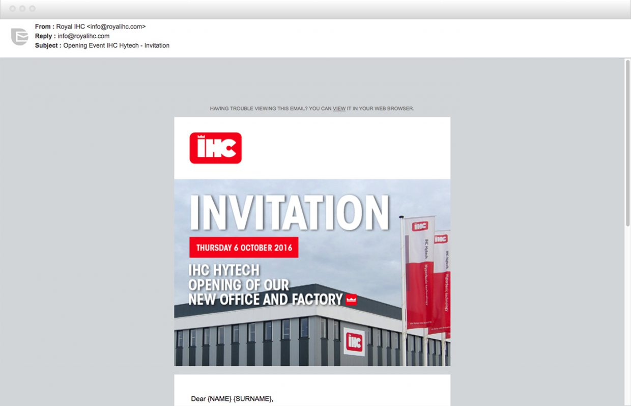 Example newsletter Royal IHC