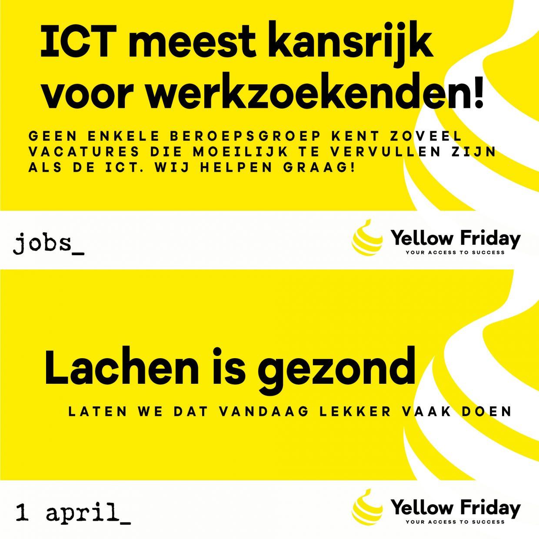 Twee geplaatste social media uitingen van Yellow Friday