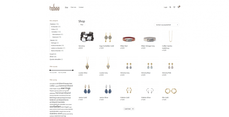 Shop pagina van taboosieraden
